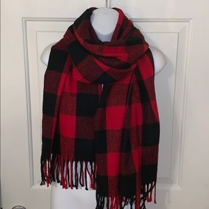 Charming Charlie Red & Black Buffalo Check Scarf